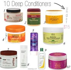 10 Inexpensive Deep Conditioners for Natural Hair Under $15. #naturalhair