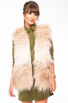 eea05928648 Megan McKenna Beige Faux Fur Gilet Faux Fur Gilet