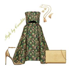 """Glitzy Green & Gold"" by stylebycandita ❤ liked on Polyvore featuring Delpozo and Yves Saint Laurent"