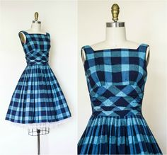 vintage 50s cotton pin up dress . blue plaid obi sash style 1950s rockabilly dress . sleeveless fit and flare day dress . xsmall by VelvetPinVintage on Etsy