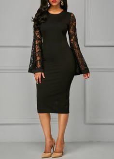 Back Slit Flare Sleeve Black Sheath Dress   Rosewe.com - USD $34.88