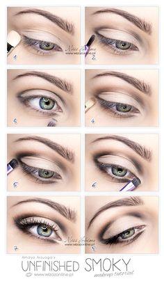 Smoky makeup - Amaya Arzuaga FW 2013   Wizaż Online Simple Eye Makeup, Natural Eye Makeup, Makeup For Brown Eyes, Natural Lip Colors, Colors For Skin Tone, Makeup Pro, Eye Makeup Tips, Makeup Hacks, Mac Makeup
