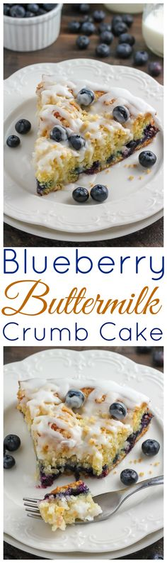 Moist and Tender Blueberry Buttermilk Crumb Cake - so much better than a bakery and very easy to make!