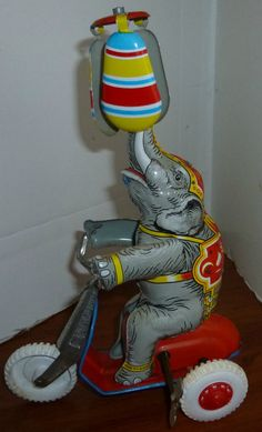 Germany Tin Wind Up Elephant Toy 1940s by thecollectiblechest
