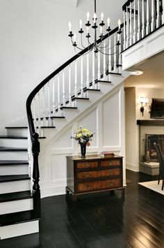 Staircase Black Floor Design, Pictures, Remodel, Decor and Ideas for my stairs and second floor Black And White Stairs, Black Railing, White Staircase, Staircase Design, White Walls, Black White, Grand Staircase, Black Painted Stairs, Stair Design