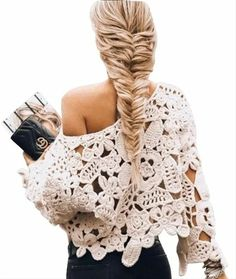 Crochet Coat, Crochet Blouse, Crochet Clothes, Irish Crochet, Hand Crochet, Crochet Lace, Crochet Flowers, Mode Crochet, Lace Sweater