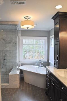 Beautiful master bathroom decor tips. Modern Farmhouse, Rustic Modern, Classic, light and airy master bathroom design some ideas. Bathroom makeover suggestions and bathroom renovation tips. White Bathroom, Modern Bathroom, Bathroom Ideas, Bathroom Organization, Restroom Ideas, Bathroom Designs, Bathroom Inspiration, Bathroom Showers, Bathroom Storage