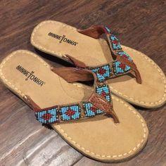New Minnetonka Sandals New without box Minnetonka beaded sandals size 8 Minnetonka Shoes Sandals
