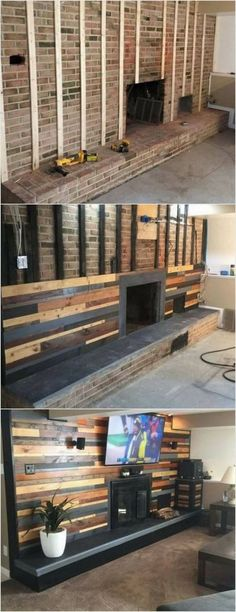 First we have the unique looking wood pallet wall paneling fire place! This idea is best to add your living room area with the creative impressions. The length of the fire place depends on your needs and requirements. To can even paint the wood pallet wit Casas Containers, Pallet Furniture, Pallet Walls, Pallet Fireplace, Fireplace Remodel, Furniture Projects, Fireplace Wall, Pallet Stairs, Fireplace Makeovers