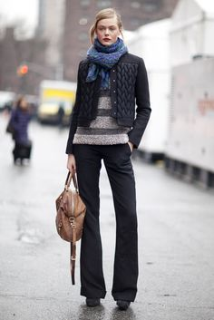 ponytail, scarf, crop jacket, sweater, boot legs, heel boots. very wearble + flattering