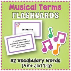 Musical Terms Flashcards Music Flashcards, Printable Flashcards, Vocabulary Flash Cards, Vocabulary Words, Music Terms, Fun Classroom Activities, Educational Games For Kids, Learning Centers, Musicals