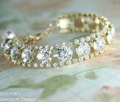 swarovski clear crystal bracelet | gold crystal bracelet swarovski bracelet | crystal bridal bracelet | www.endorajewellery.etsy.com | Also available in rose gold and silver.