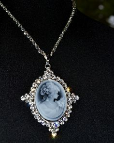 Gorgeous Cameo Necklace With Austrian Crystals. Starting at $9 on Tophatter.com!