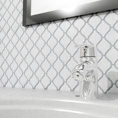 Merola Tile Arabesque Glossy White 9-7/8 in. x 11-1/8 in. x 6 mm Porcelain Mosaic Floor and Wall Tile-FDXARGW at The Home Depot