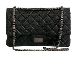 936d09cc1ffe Chanel 2.55 Flap Bag à Rabat' Black Aged Calfskin ❤ liked on Polyvore  featuring bags