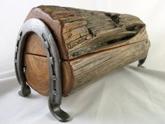 Cedar Jewelry or Trinket Box Out of Old Fence Post with Horse Shoe Legs - Made in Texas on Etsy, $60.00