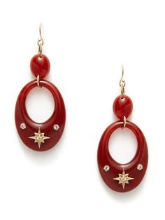 Gold Starburst & Carnelian Open Oval Multi-Drop Earrings by Emily & Ashley on Gilt.com