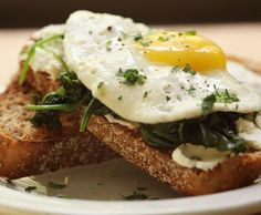 Open-Faced Breakfast Sandwich with Eggs, Spinach and Goat Cheese