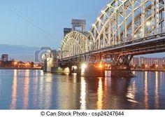 Zbiory Zdjęć - Finlandia, kolej żelazna, Most, Noc  - zbiory obrazów, obrazy, fotografie royalty free, zbiory fotografii, zbiory zdjęć, zbiór fotografii, obrazy, zdjęcia, grafika, grafiki