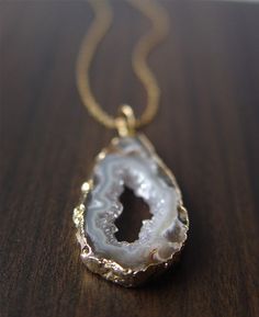 White Agate Druzy 14K Gold Necklace