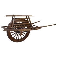 For Sale on - This wheelbarrow has a single, three-foot wheel with a carrying surface that encases the top of the wheel and is flanked by a platform on each side. Bike Trailer, Wheelbarrow, Art Furniture, Survival Gear, Wood Crafts, Inventions, Woodworking Projects, Chinese, Platform