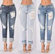 US$ 8.6000 Denim Ripped Skinny Jeans LE5827