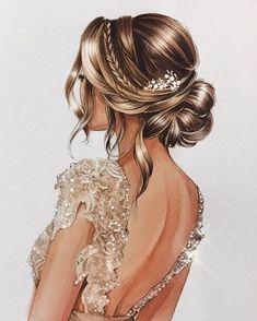 ▷ beautiful drawing ideas with detailed instructions, Nice picture to paint, woman in white evening dress with crystals, elegant updo. Fashion Design Drawings, Fashion Sketches, Arte Fashion, Covet Fashion, Fashion Women, High Fashion, Girly M, Fashion Illustration Dresses, Girly Drawings