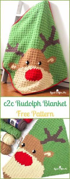 Crochet C2C Rudolph Blanket Free Pattern - Crochet Christmas Blanket Free Patterns