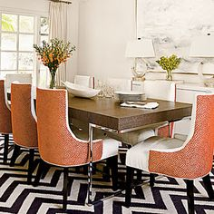 Dining Table and Chevron rug