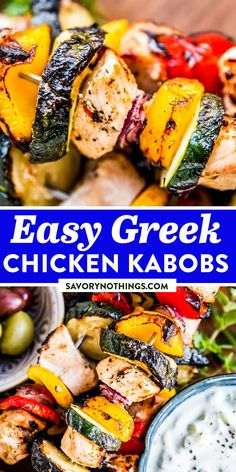 Greek Chicken Kabobs are an easy and healthy grilling recipe to try for your next BBQ party. Greek marinated chicken is put on skewers with lots of colorful vegetables. Serve it with tzatziki sauce and marinated olives for the ultimate Mediterranean summer feast! | #bbq #grilling #grillingrecipes #summerrecipes #chickenrecipes #chickenfoodrecipes #healthyfood #healthydinner #easyrecipes #easydinner Greek Chicken Kabobs, Greek Marinated Chicken, Marinated Olives, Healthy Grilling Recipes, Slow Cooker Recipes, Quick Weeknight Dinners, Quick Easy Meals, Family Recipes, Family Meals