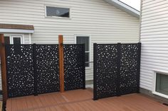 Laser cut privacy screens for interior/exterior use. Add a modern flair to your space while providing privacy around your backyard or deck. Made from high-quality aluminium and a UV protected powder coat, they're built to last. Outdoor Privacy Panels, Privacy Walls, Privacy Screens, Privacy Fences, Fencing, Landscape Design Small, Contemporary Landscape, Modern Landscaping, Backyard Landscaping