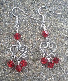 Silver Heart Shaped Red Crystal Bead Dangle Earrings/Wedding/Anniversary/Prom/Valentine/Bridesmaid/Gift Idea/Handmade/Accessory/Elegant
