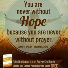 Take the #MaxLucado #BeforeAmen Prayer Challenge and get the Pocket Prayers eBook FREE!