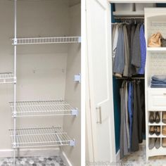 A small closet is given a huge makeover with an elegant closet organizer, a gorgeous paint color, and space saving accessories. Kitchen Cabinets To Ceiling, Laundry Room Cabinets, Painting Kitchen Cabinets, Kitchen Soffit, Gray Cabinets, Farmhouse Style Kitchen, Kitchen Redo, Kitchen Remodel, Farmhouse Decor