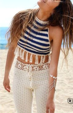 Really hate the crochet trousers but the top is good I could make something similar