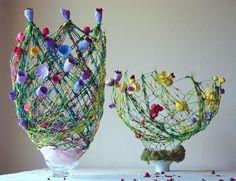 riciclo creativo, green design: vasi,centrotavola,lampade  design-sostenibile-textile art, fiori di carta Roma by Alessandra Fabre Repetto