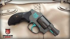 Smith & Wesson .38 Special in cerakote Tungsten H-237 and custom blue mix accents #ericksonarms #cerakote