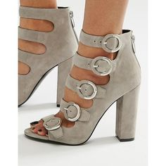 Kendall + Kylie Gray Suede Buckle Sandals (662.560 COP) ❤ liked on Polyvore featuring shoes, sandals, grey, open toe high heel sandals, grey sandals, open toe sandals, grey high heel shoes and gray suede shoes