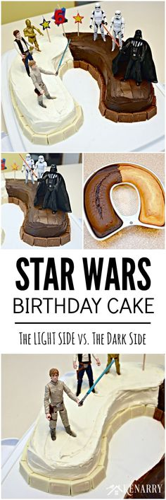 Love this idea for a Star Wars birthday cake! Half the cake is dark chocolate and half the cake is light and showcases my child's favorite characters, Luke Skywalker, Han Solo, C3PO and Darth Vader.