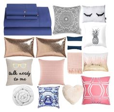 """""""Pink navy and copper bed set"""" by mildred-akpabio-klementowska on Polyvore featuring interior, interiors, interior design, home, home decor, interior decorating, Tommy Hilfiger, CB2, Levtex and PBteen"""
