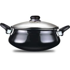 Nirali Classic Plus Non Stick Taper Handi - Keep your meals warm and tasty with this non stick plus classic taper handi. This handi uses metal and glass among other materials and comes in an arresting black and silver combination. Use this as an ideal gift option for your friends and relatives.