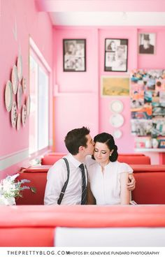 Be transported back in time with this couple's 50's themed engagement shoot.