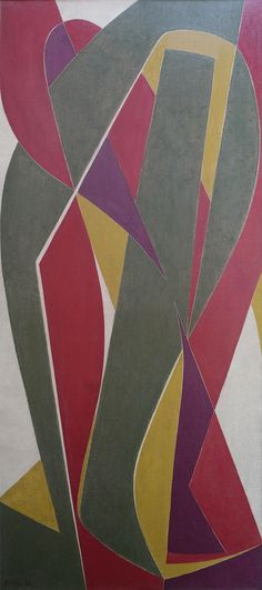'Composition en Rouge et Vert', dated 1949, by Othello Radou.
