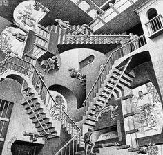 Relativity, by M. C. Escher. Lithograph, 1953. No computer needed, just the brilliant brain of the best graphic artist ever. I  made an underwater homage of this picture in 2001.