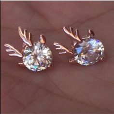 2/$15 Antlered Crystals Earrings Gorgeous and tasteful stud earrings feature small, flashy, brilliant crystals with rose-ish gold tone color antlers. Post earrings are for pierced ears. Brand new retail w/o tags. No trades, no holding, no offsite payment.        💙 All $9 earrings,two pairs for $15 💚       ❗️PRICE IS FIRM UNLESS BUNDLED❗️ Jewelry Earrings