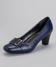 Take a look at this Navy Buckle Cary Pump by Rasolli on #zulily today!