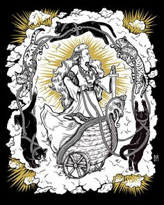 "kjerstifaret:  ""Queen of Cats"" - Freyja, the Norse goddess with her chariot led by catsThis is going to be made into t-shirts, tanks and wall prints this month!Find indie apparel and accessories (including this design) here from Cat Coven!"