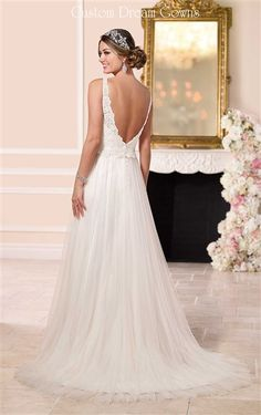 2016 #Wedding Dresses | Beautiful Lace & Tulle Sheath Gown with a Sweetheart Neckline, Lace Straps, Lace Detailed Fitted & Boned Bodice with a Cinching Satin Sash at Natural Waist, Gathered Tulle Sheath Skirt, Brush Train, Low V-Back with Covered Buttons Over Hidden Zipper Closure. #beachweddingdress #beachbridalgown #destinationwedding #customweddingdress #lowbackweddingdress #openbackweddingdress #tulleweddingdress #laceweddingdress #weddingdresswithstraps