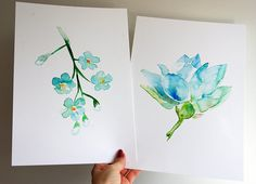 Set of 4 Flower Watercolor Paintings Forget me not by Zendrawing