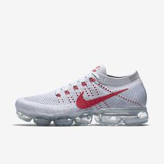 Nike Air VaporMax 2018 Flyknit White Gray Red Tick (36-45) Nike Basketball Shoes, Air Jordan Shoes, Cheap Nike, Nike Shoes Cheap, Nike Vapormax Flyknit, Nike Free Trainer, Nike Air Vapormax, Baskets Nike, Black Running Shoes
